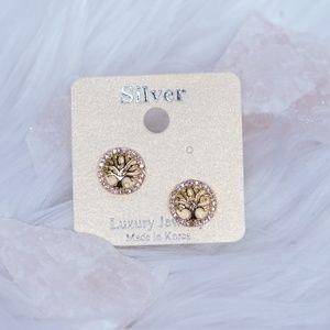 Yellow Gold Tree of Life Stud Earrings
